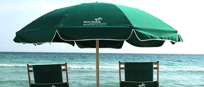 Beautiful beach umbrella increases the beauty of vacation